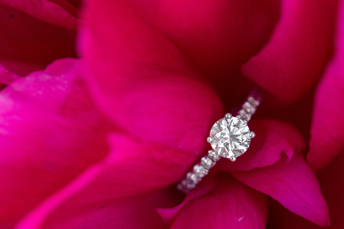 engagement ring placed in pink peony