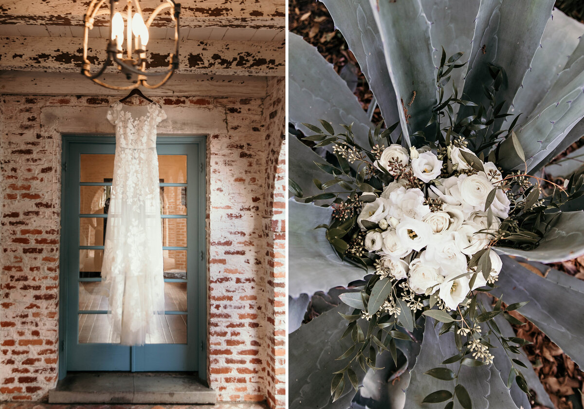 A picture of the bride's beautiful wedding dress hanging in front of a vintage entrance at the wedding venue and a view from above of the bride's bouquet resting inside a large succulent plant by Garry & Stacy Photography Co - Tampa FL wedding photography