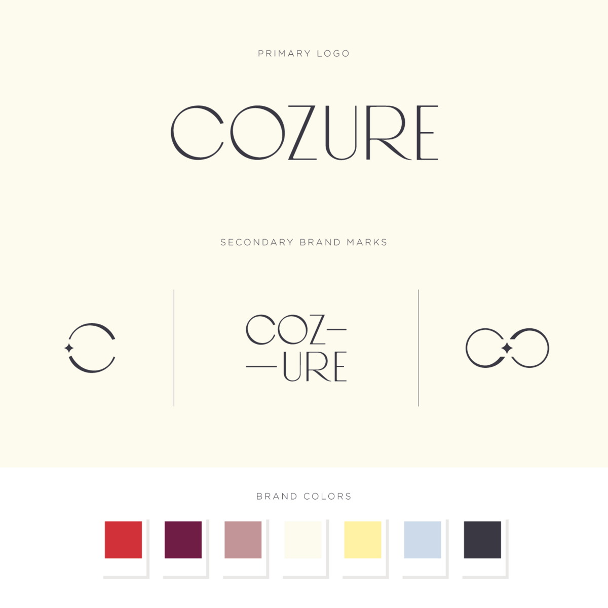 Cozure logos and brand colors