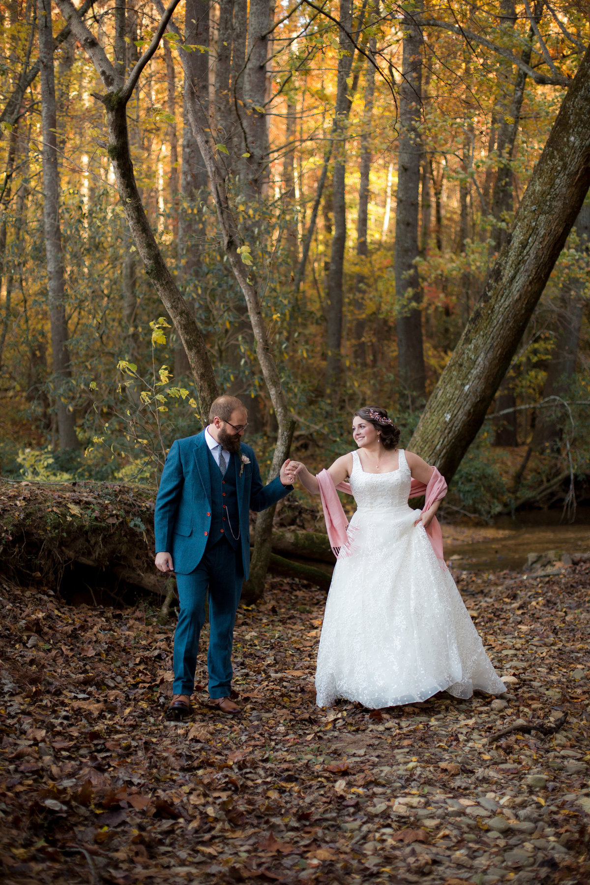 Candid photo of bride and groom taken by Atlanta wedding photographer