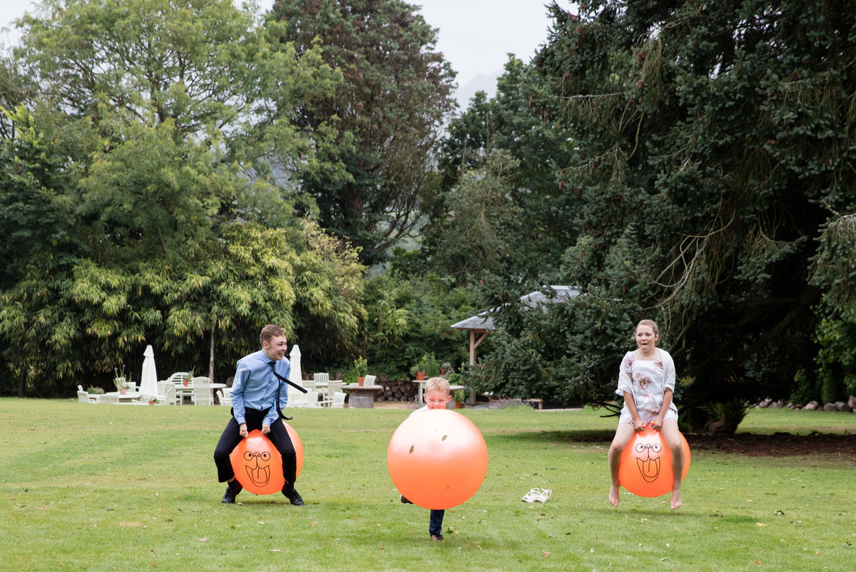 fun wedding photo of space hoppers at deer park