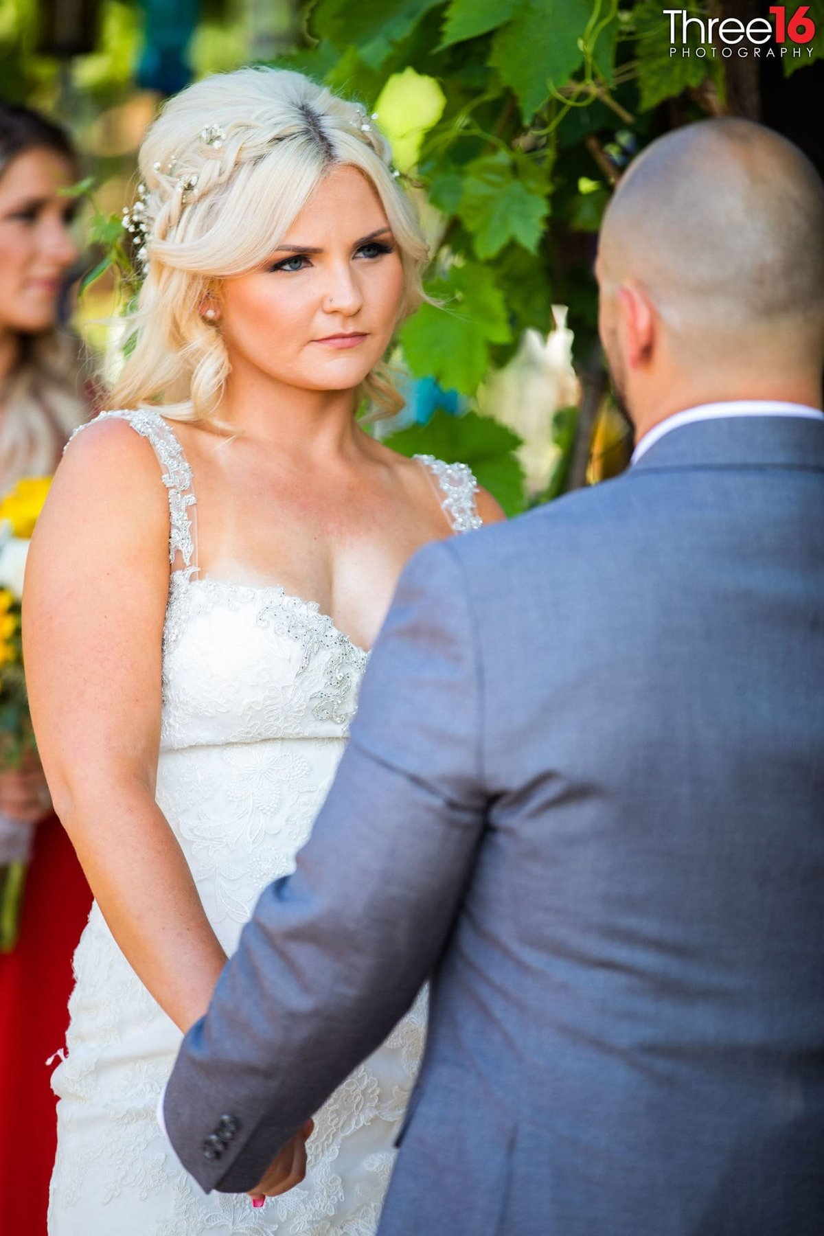 Bride staring at her Groom during wedding ceremony