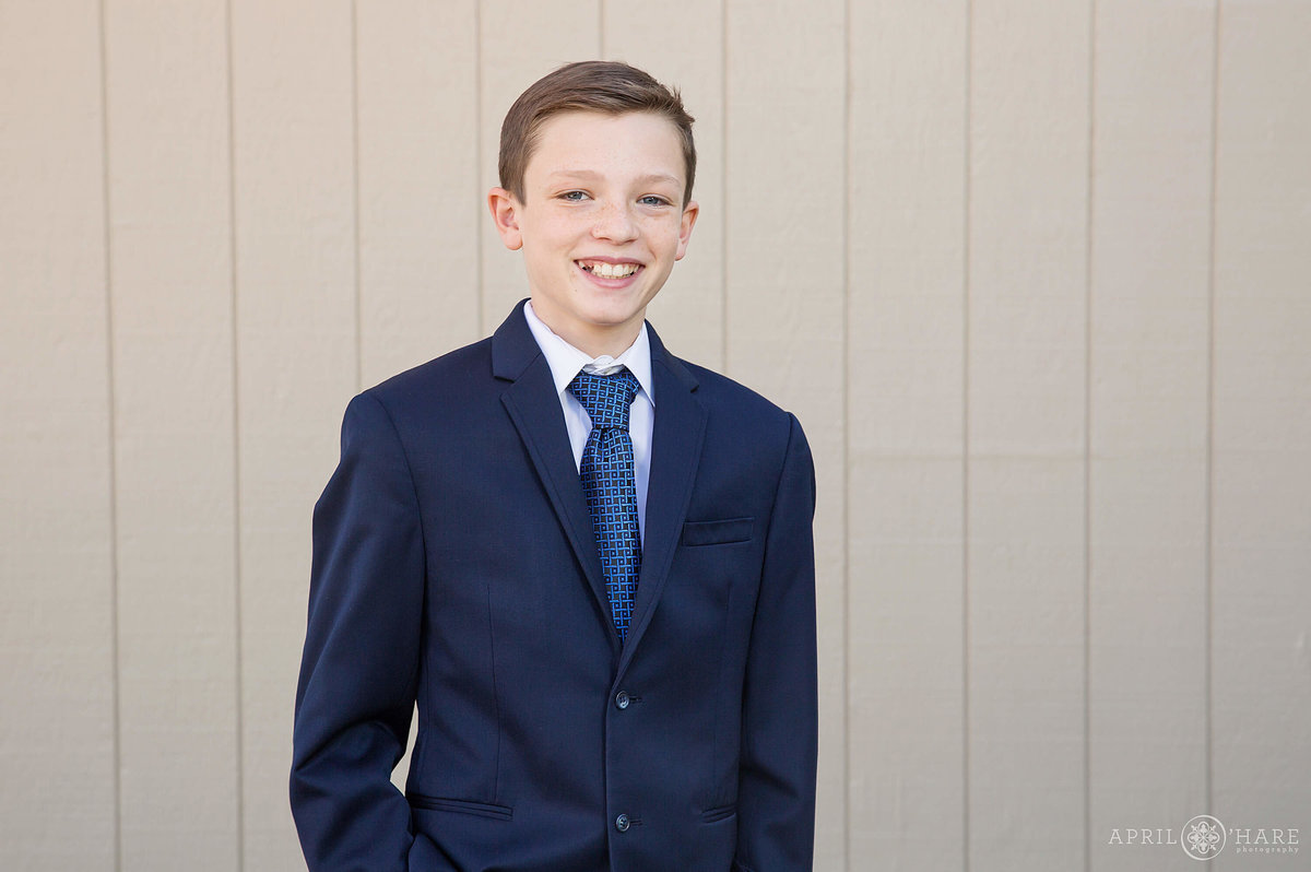 13 year old on the day of his Bar Mitzvah in Denver Colorado