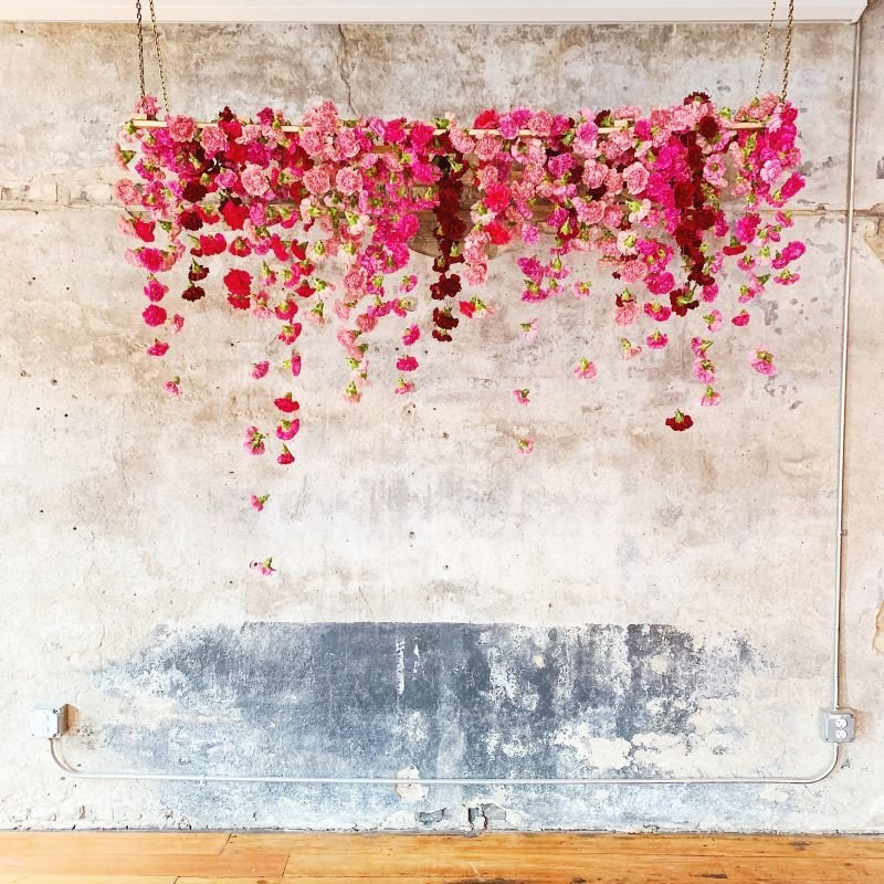 hanging floral chandelier, carnation backdrop