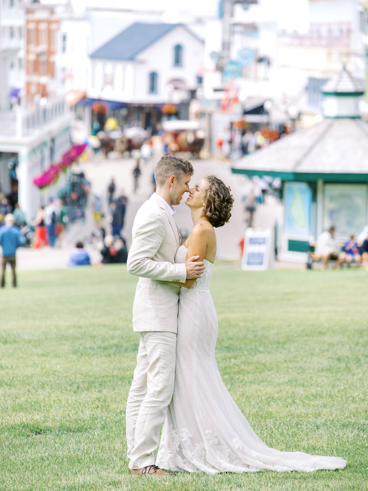 Wedding Portrait on Mackinac Main Street