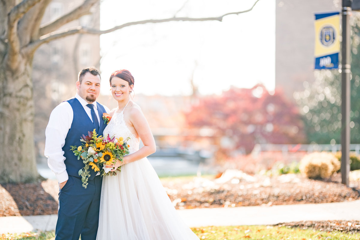 Couple Portraits Wedding Brewery Cincinnati Ohio Colorful Flowers-52