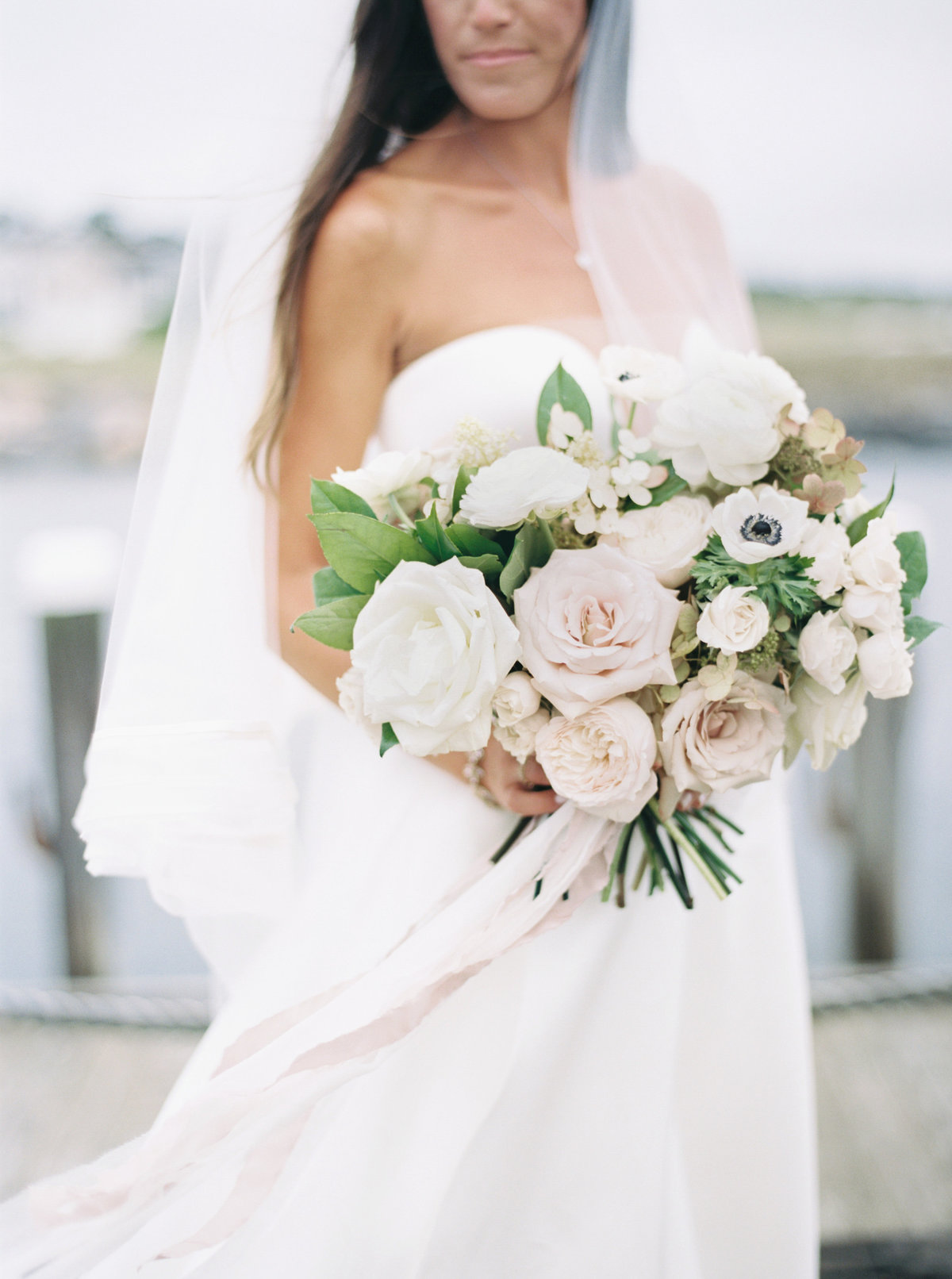 White and blush garden inspired bouquet for Cape Cod wedding weekend by top destination wedding planner Always Yours Events