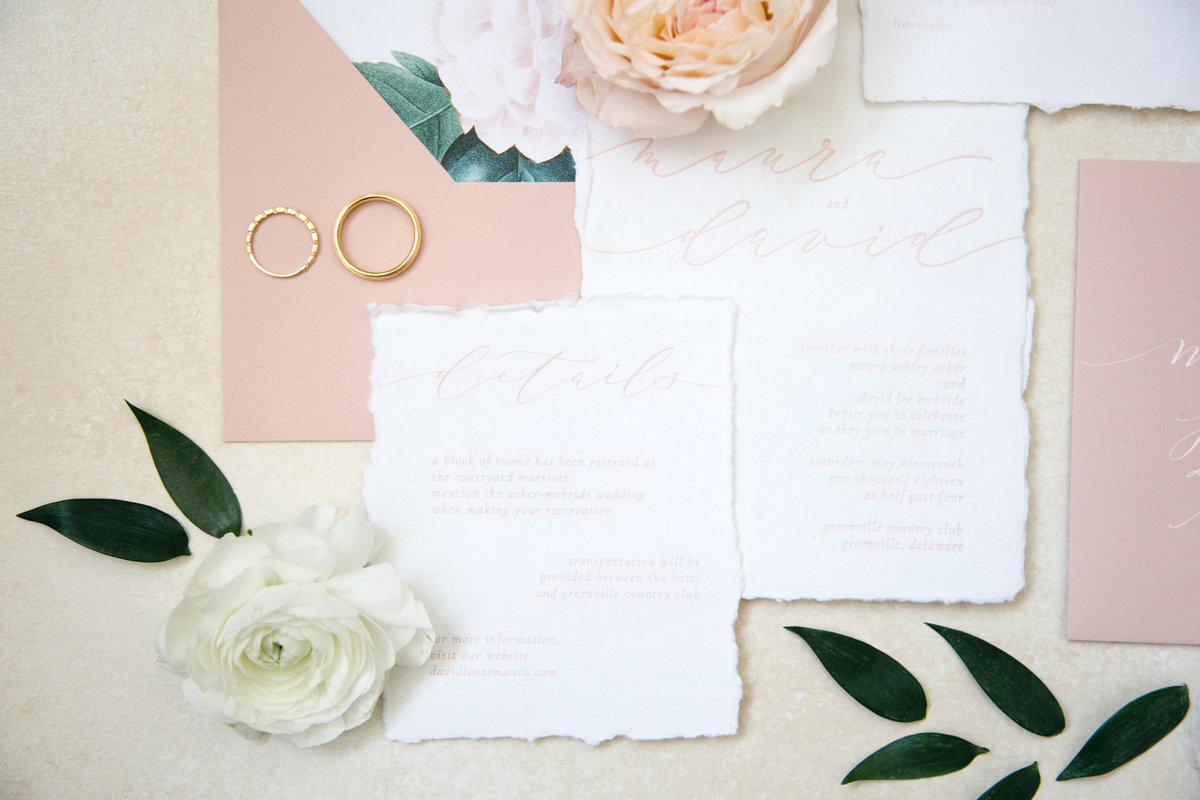 Romantic inspired wedding suite with custom calligraphy