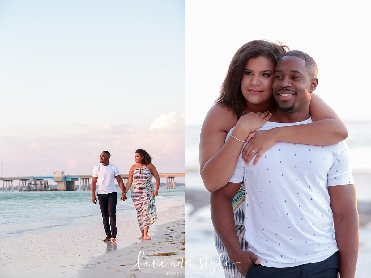 Beer Can Island Engagement Photography of couple holding hands walking on the beach