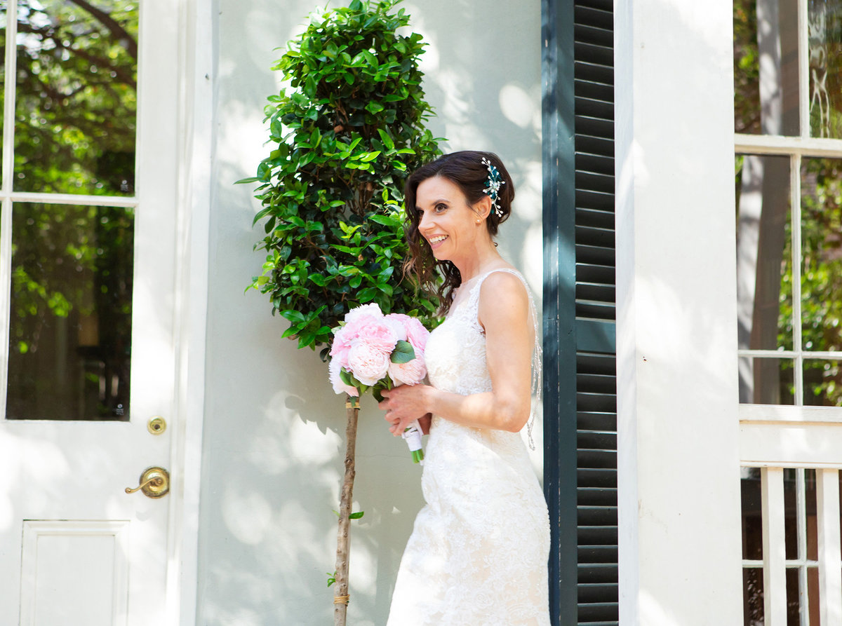 nola bride walking out of The Terrell House down the aisle