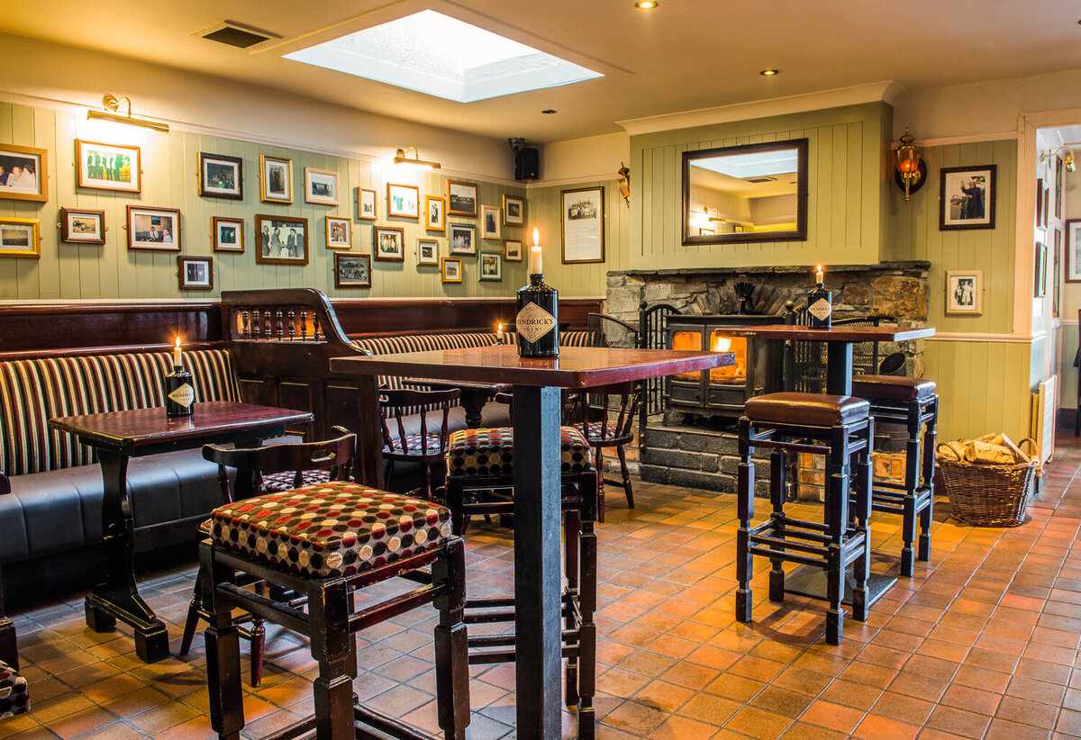 Cosy interior of Irish pub  with open fire in Tralee