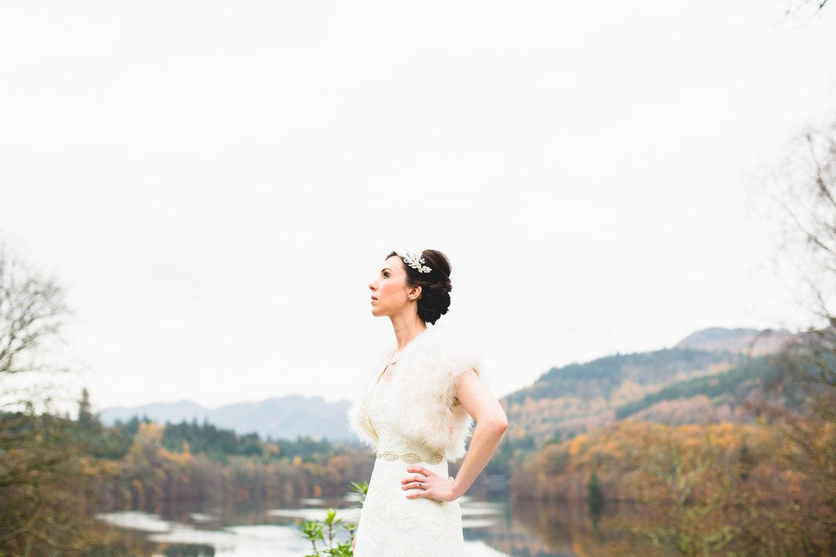 a bride in scotland by the loch