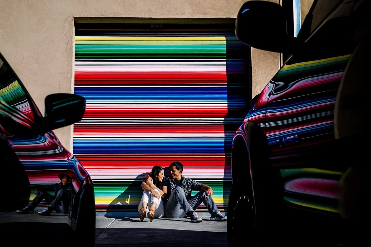 engagement photo in the streets of el paso texas by stephane lemaire photography