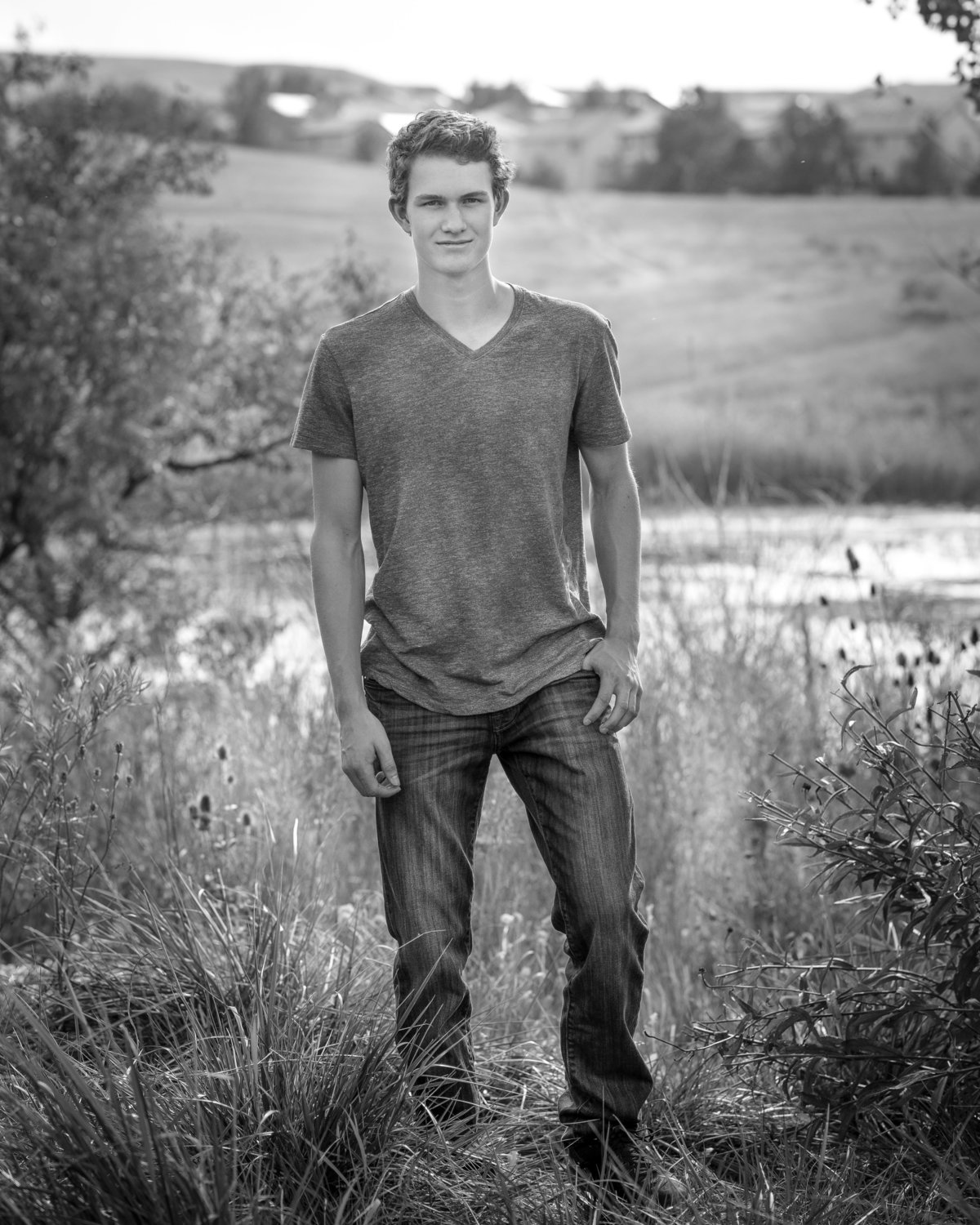 Black and white High School Senior Photo