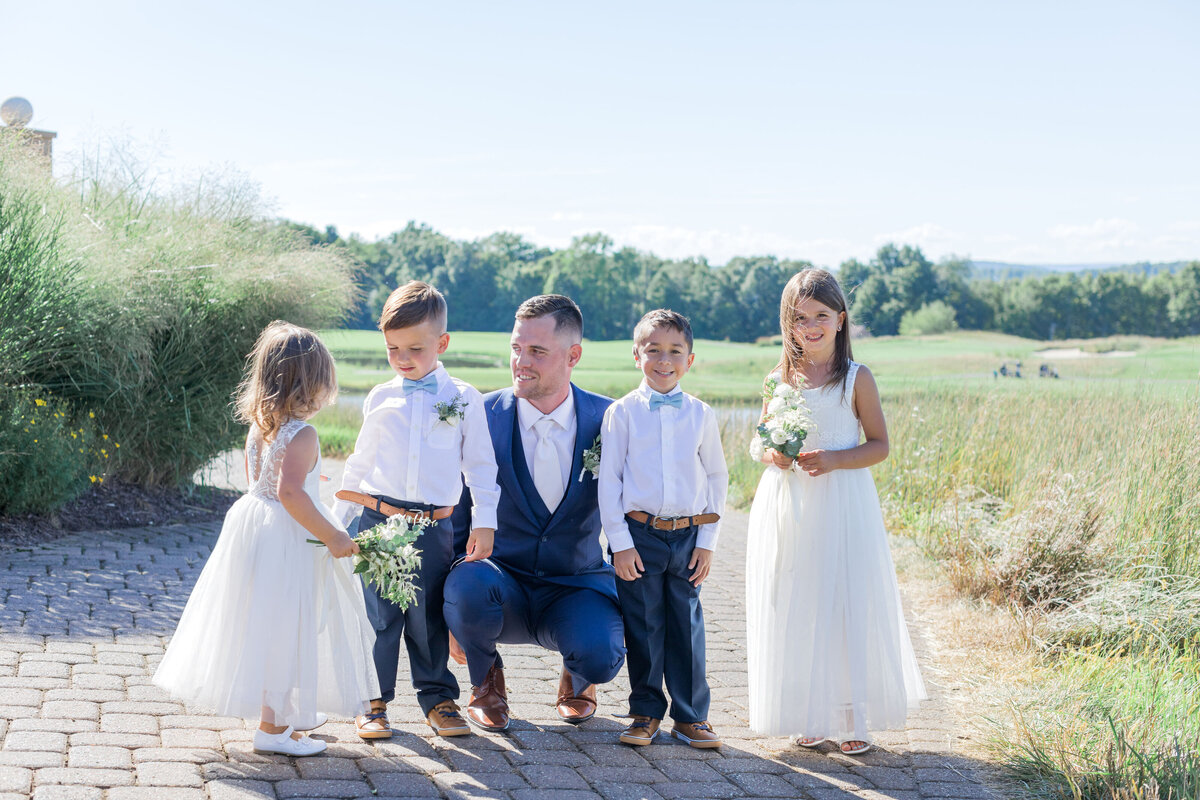 Groom and flower girls