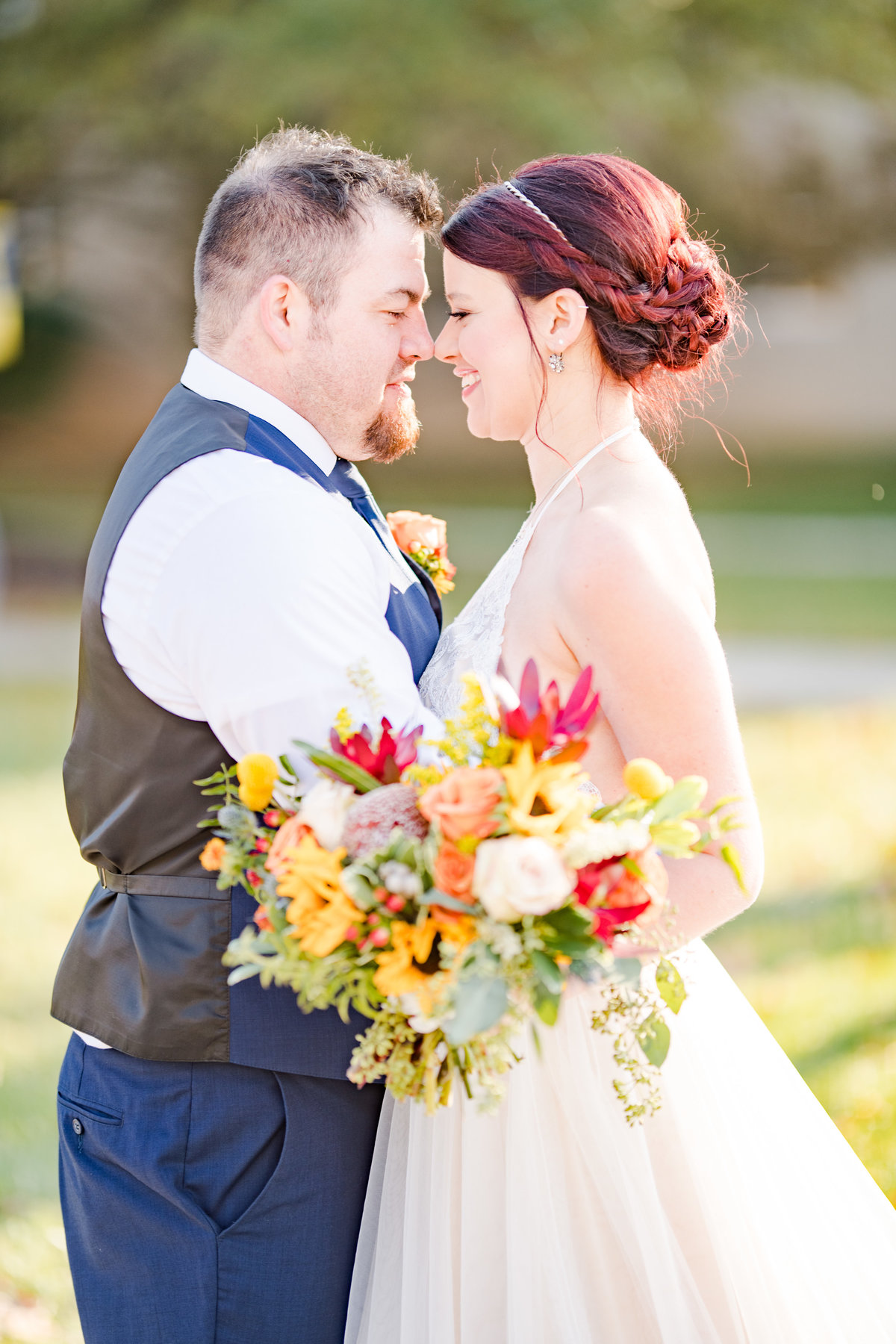 Couple Portraits Wedding Brewery Cincinnati Ohio Colorful Flowers-66