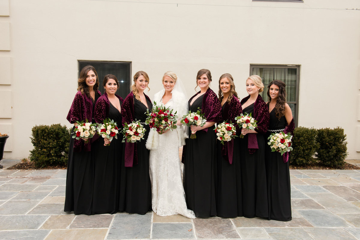 Bride and her bridesmaids at The Inn at Fox Hollow