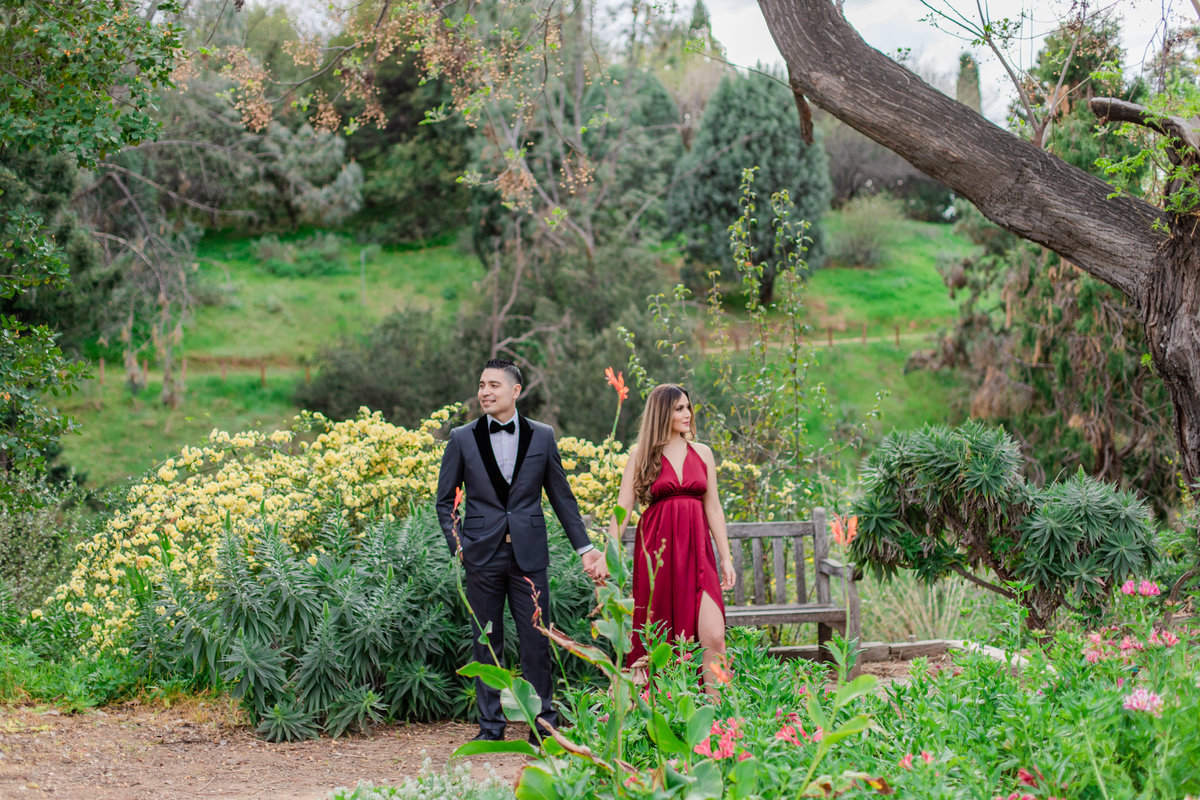 UC Riverside Botanical Gardens, Engagement Photography, Riverside Phototgrapher, Garden Engagement, Couple Photography, Red Dress-47