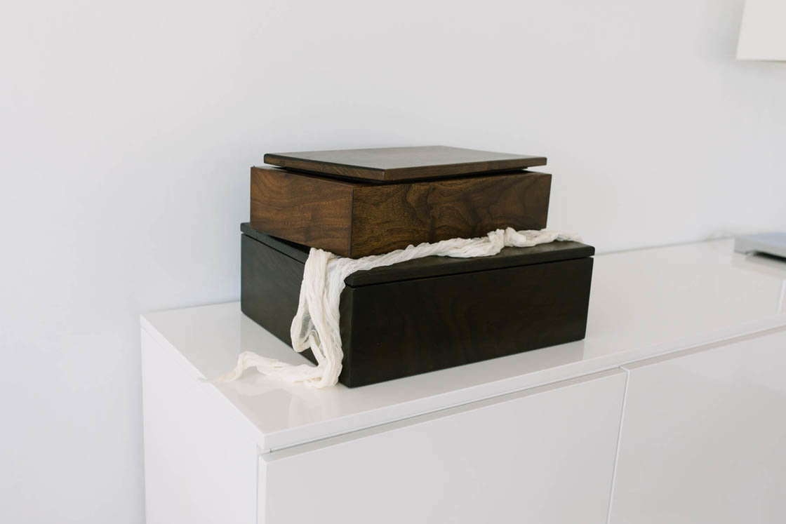 walnut heirloom boxes are some of the products Boudoir by Elle offers to her clients