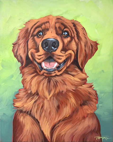 Original golden retriever painting by stephanie torregrossa gaffney new orleans artist