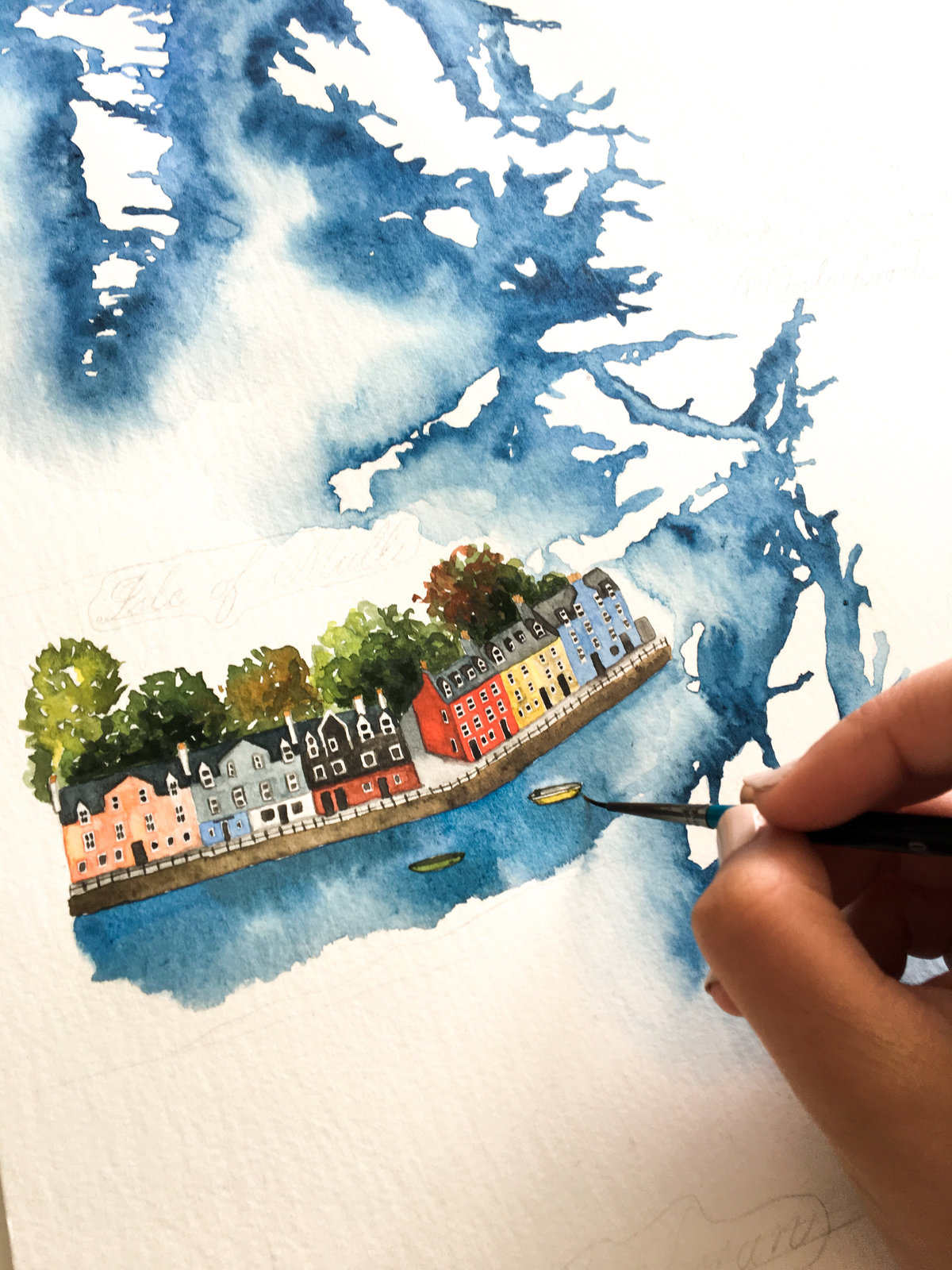 Scottish map in watercolour | Jenni Liandu Calligraphy
