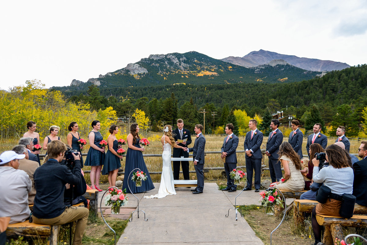 Wedding ceremony in Estes Park, wedding photographer