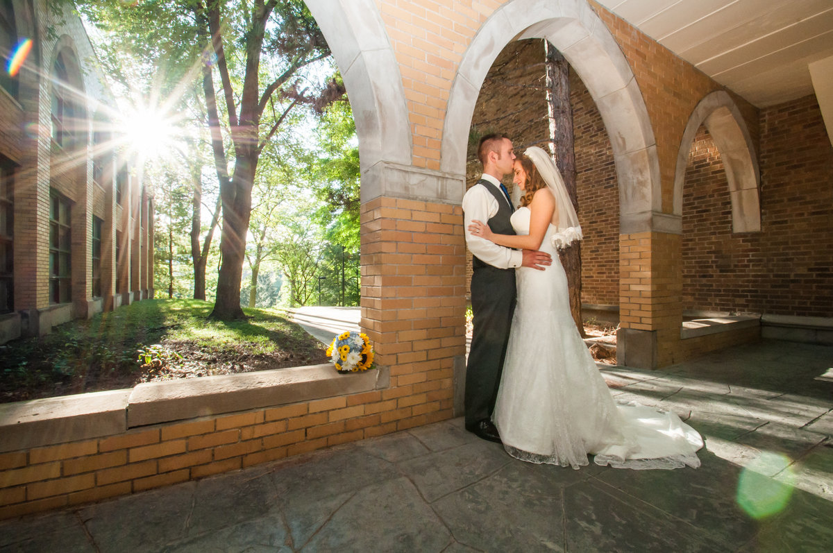 wedding Augustana College arches