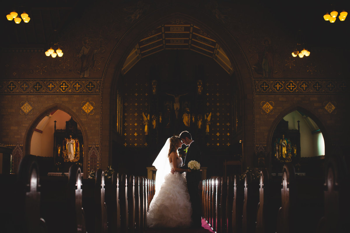 silhouette of wedding couple in a cheshire church