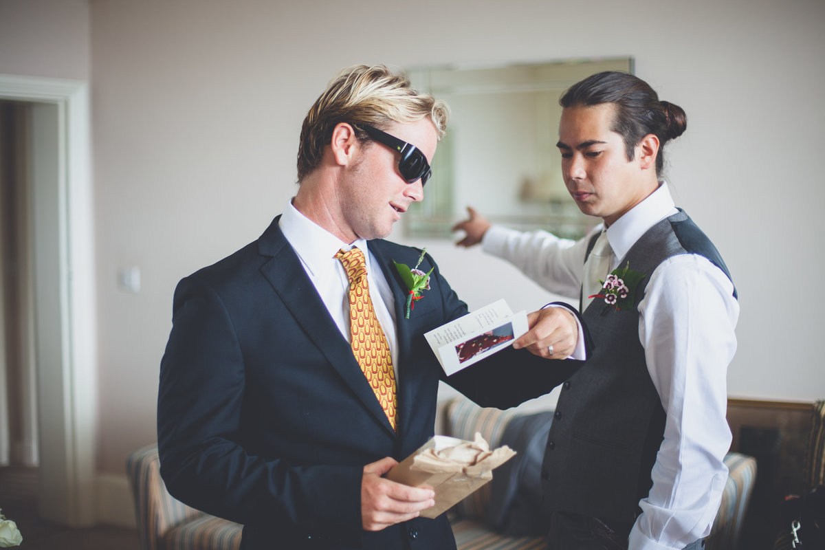 Groom and bestman getting ready