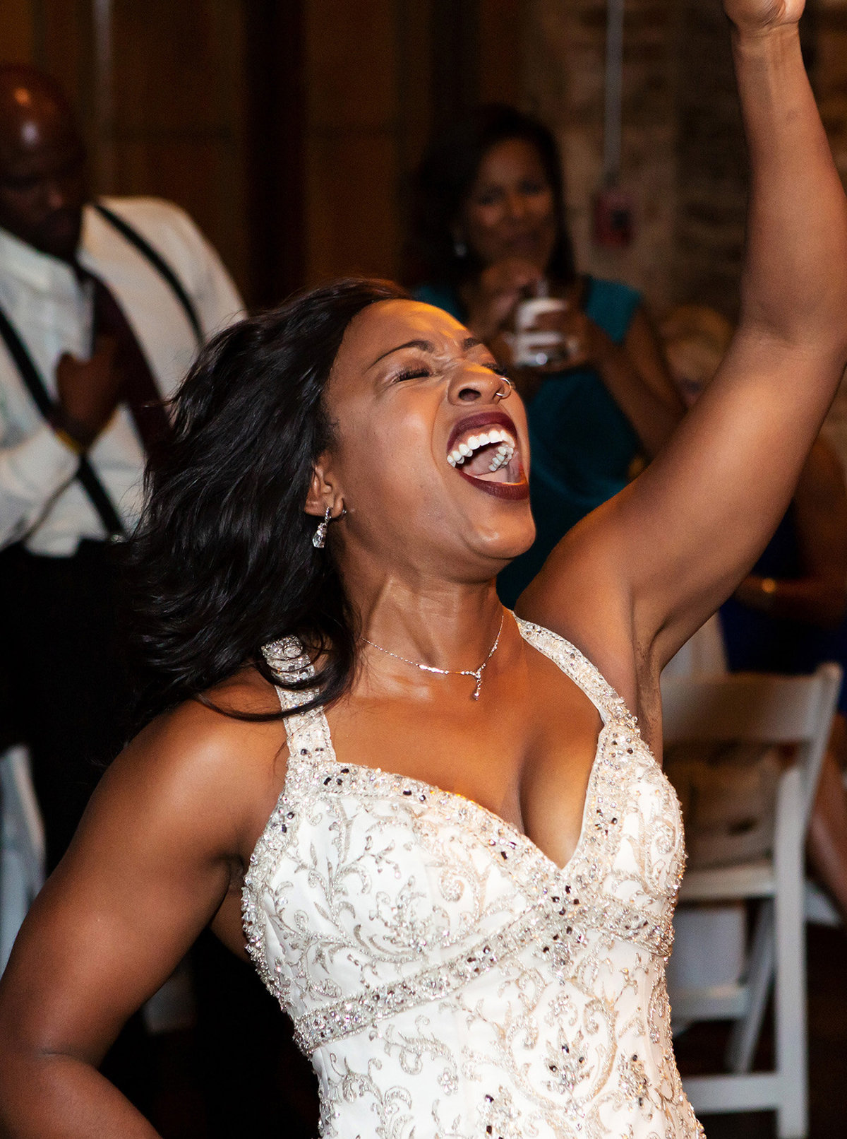 bride dancing at her wedding reception at Rosy's Jazz Hall in New Orleans, Louisiana