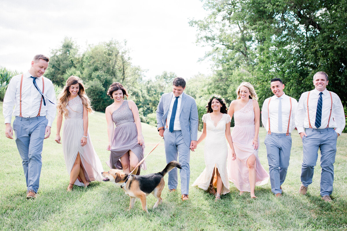 Wedding Party wearing blue and blush pastels walking with a dog on a field