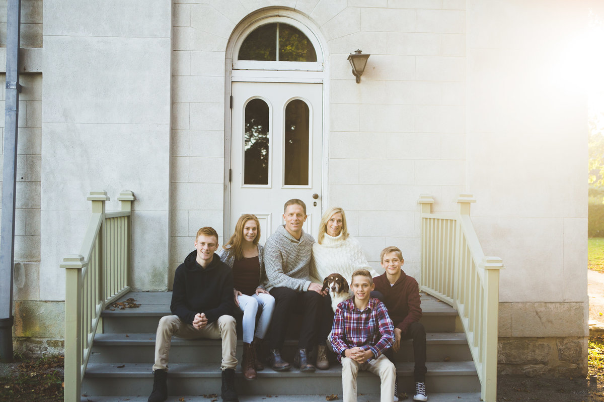 Family of 6 sitting on stairs of Dundurn Castle {Burlington Family Photographer}