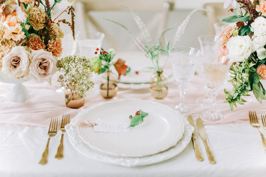 Blush Pink Wedding Table Styling and Decor