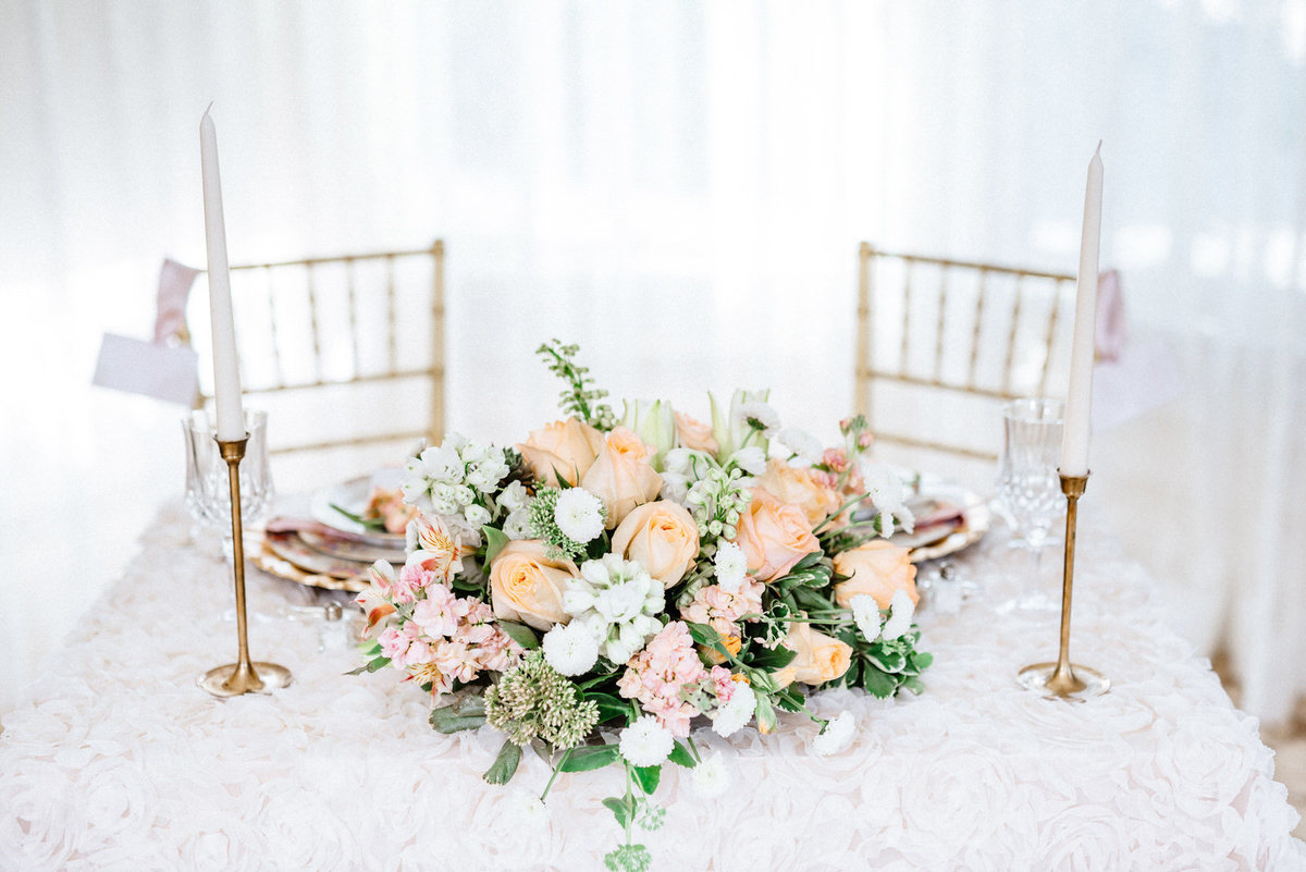 peach pink and white wedding details
