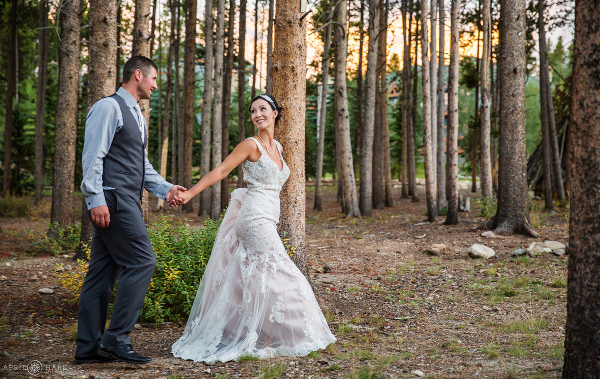 Walk-Through-the-Forest-Hand-in-Hand-Romantic-Wedding-Photography-at-Sunset-in-Breckenridge-Colorado