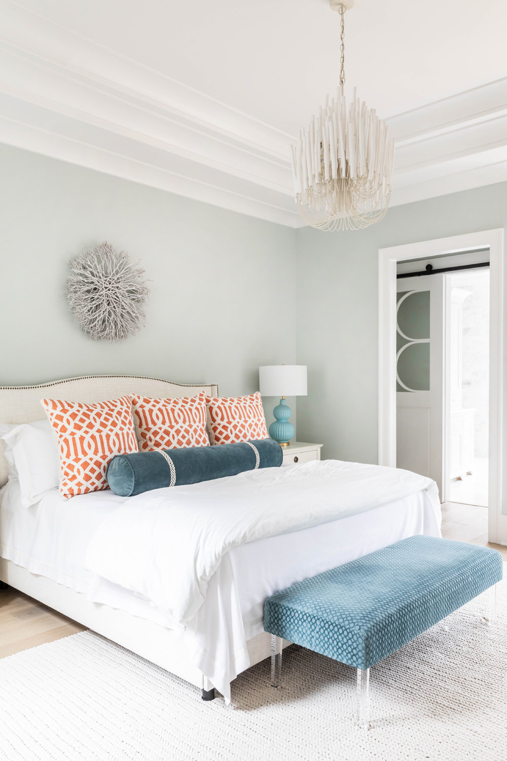 Sherwin-Williams-Sea-Salt-Master-Bedroom-with-Arteriors-tilda-Chandelier-1