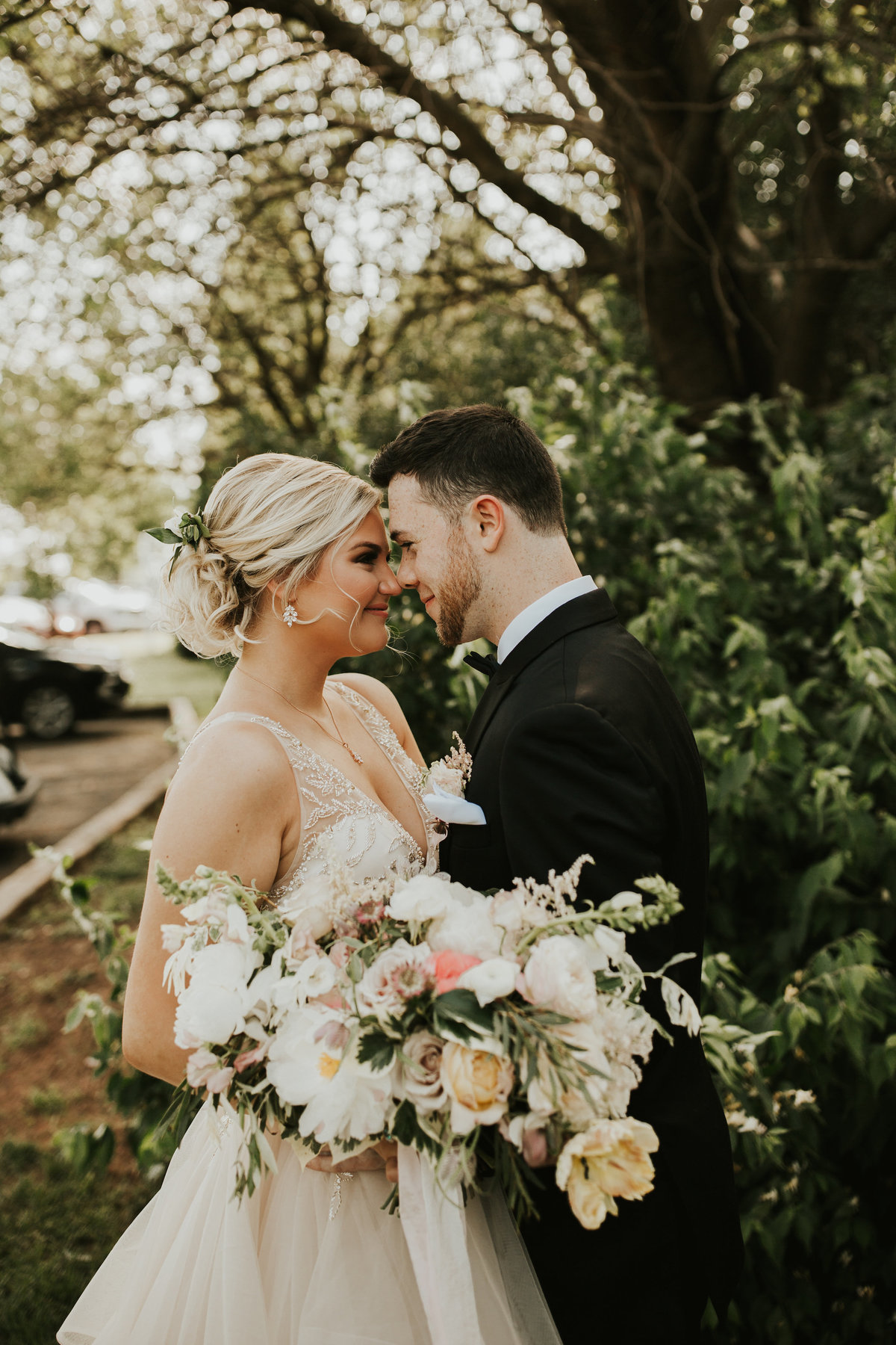 bride and groom mainline wedding florist