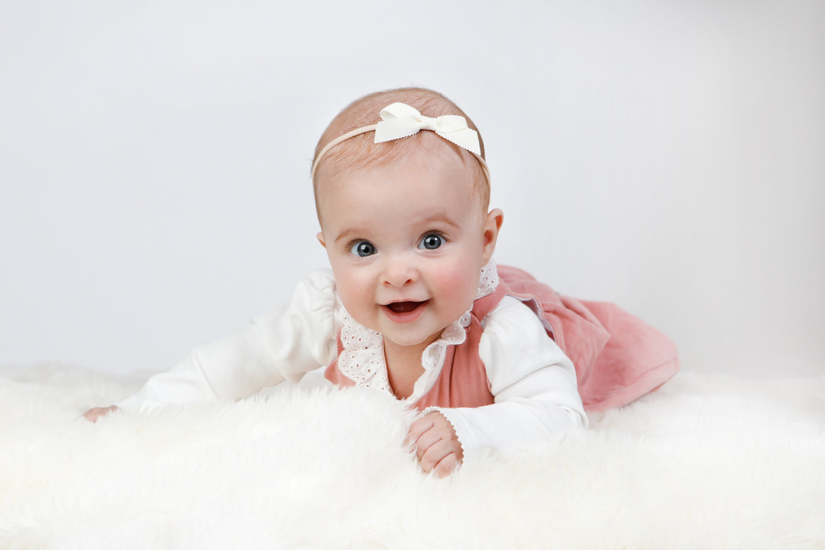 Bright background, baby girl photoshoot