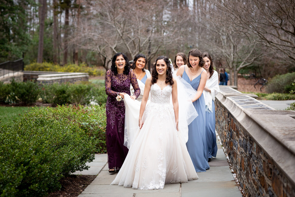 The bridal party gets ready at Duke University Chapel in NC