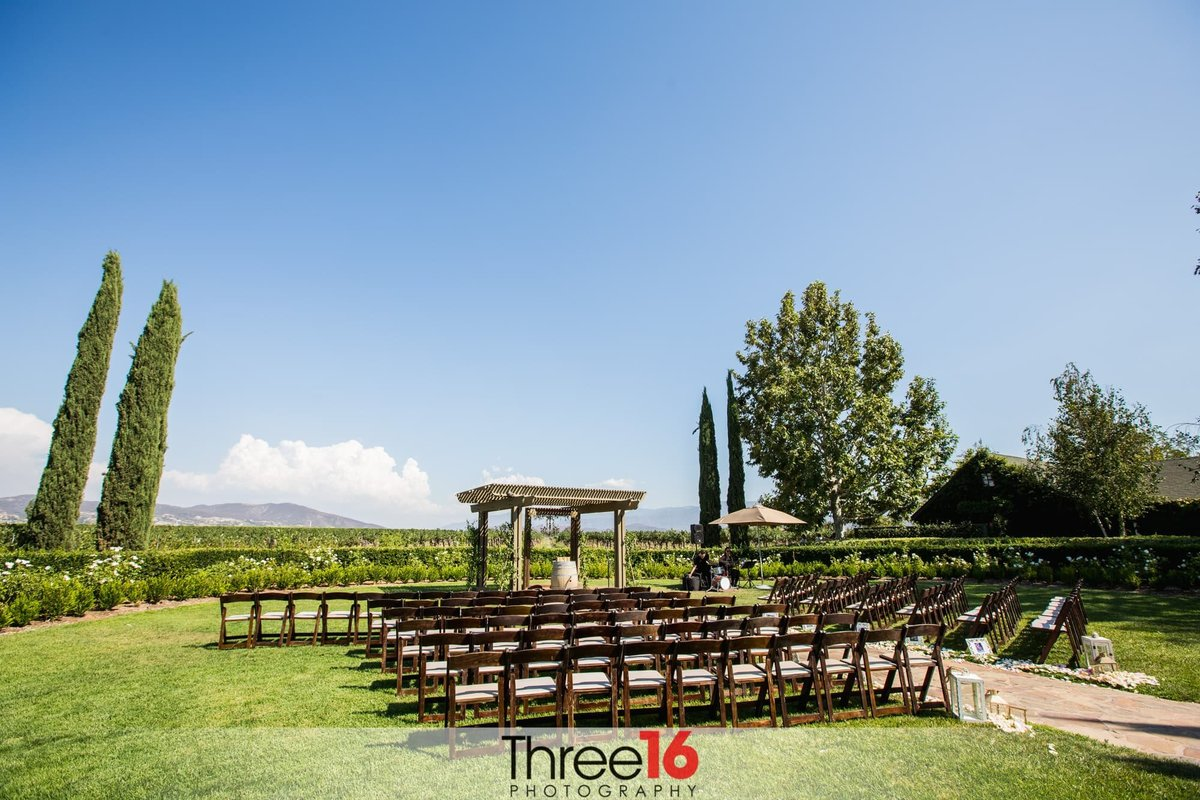 Wedding Ceremony setup at Ponte Winery Wedding Venue