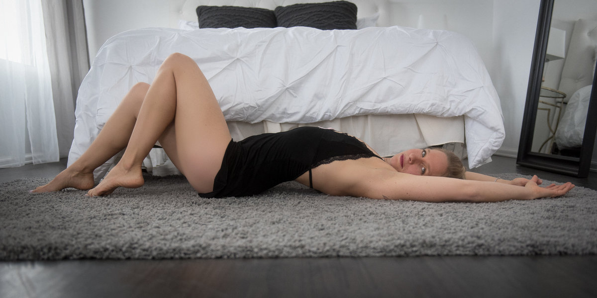 Woman lying on floor