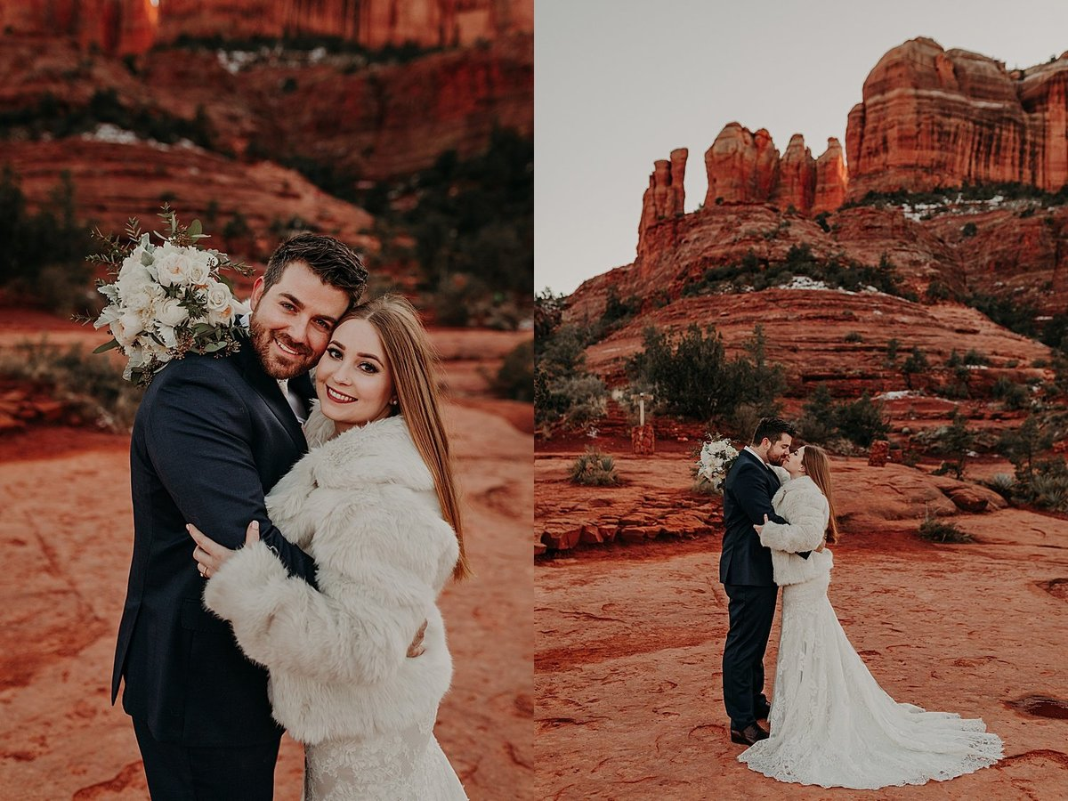 wedding couple embrace and hug after eloping in Sedona red rocks