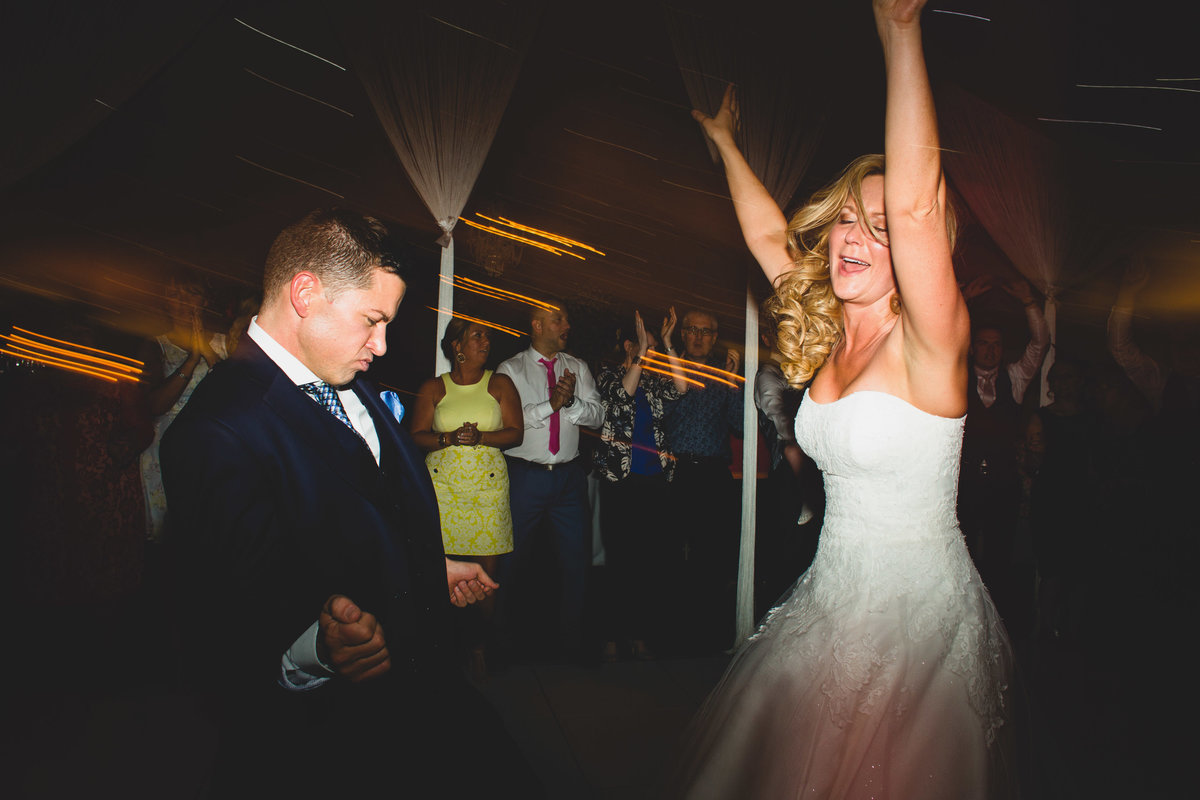 bride and groom dancing at combermere abbey