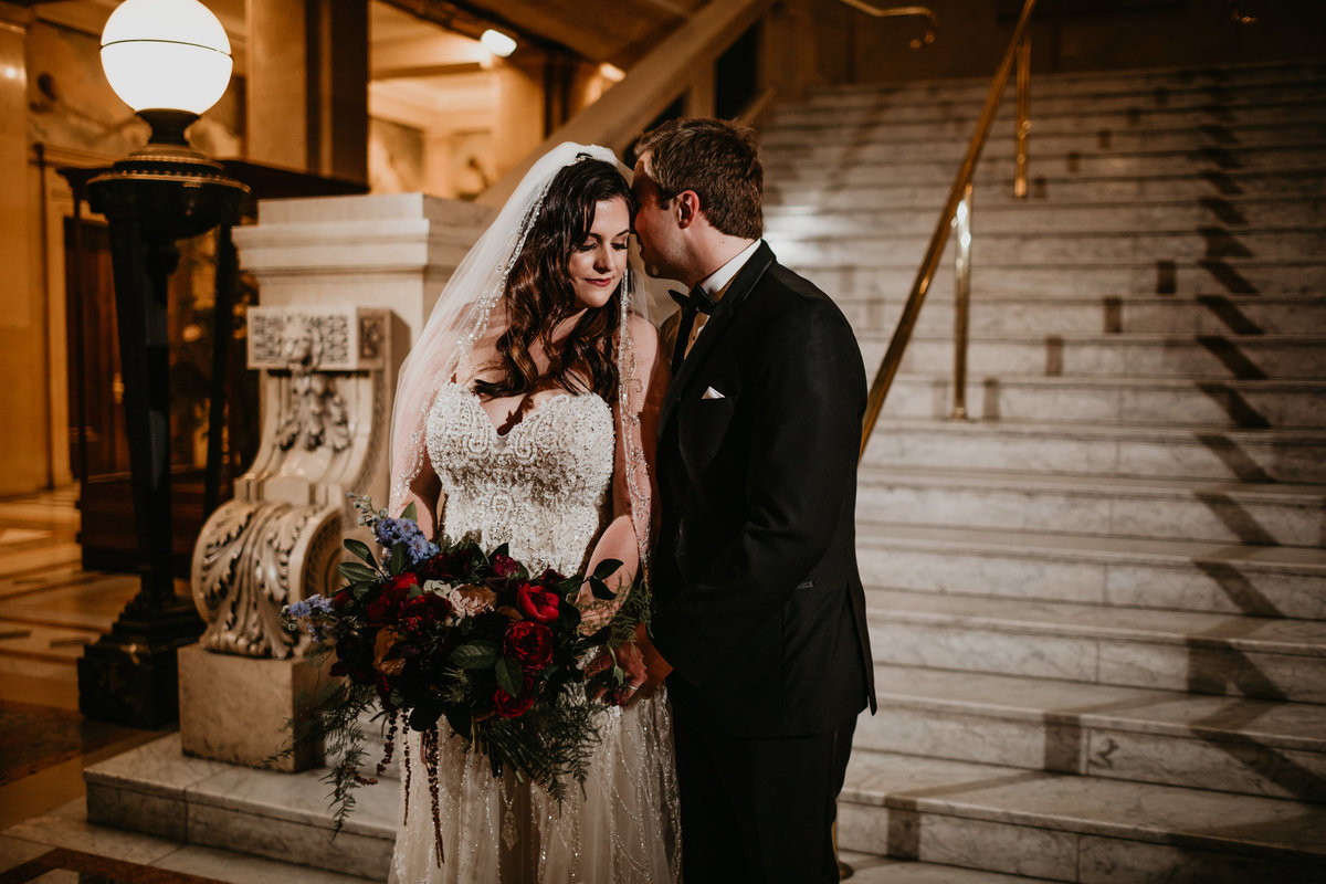 Bride and Groom on Stairs at  Carnegie Museum of Pittsburgh