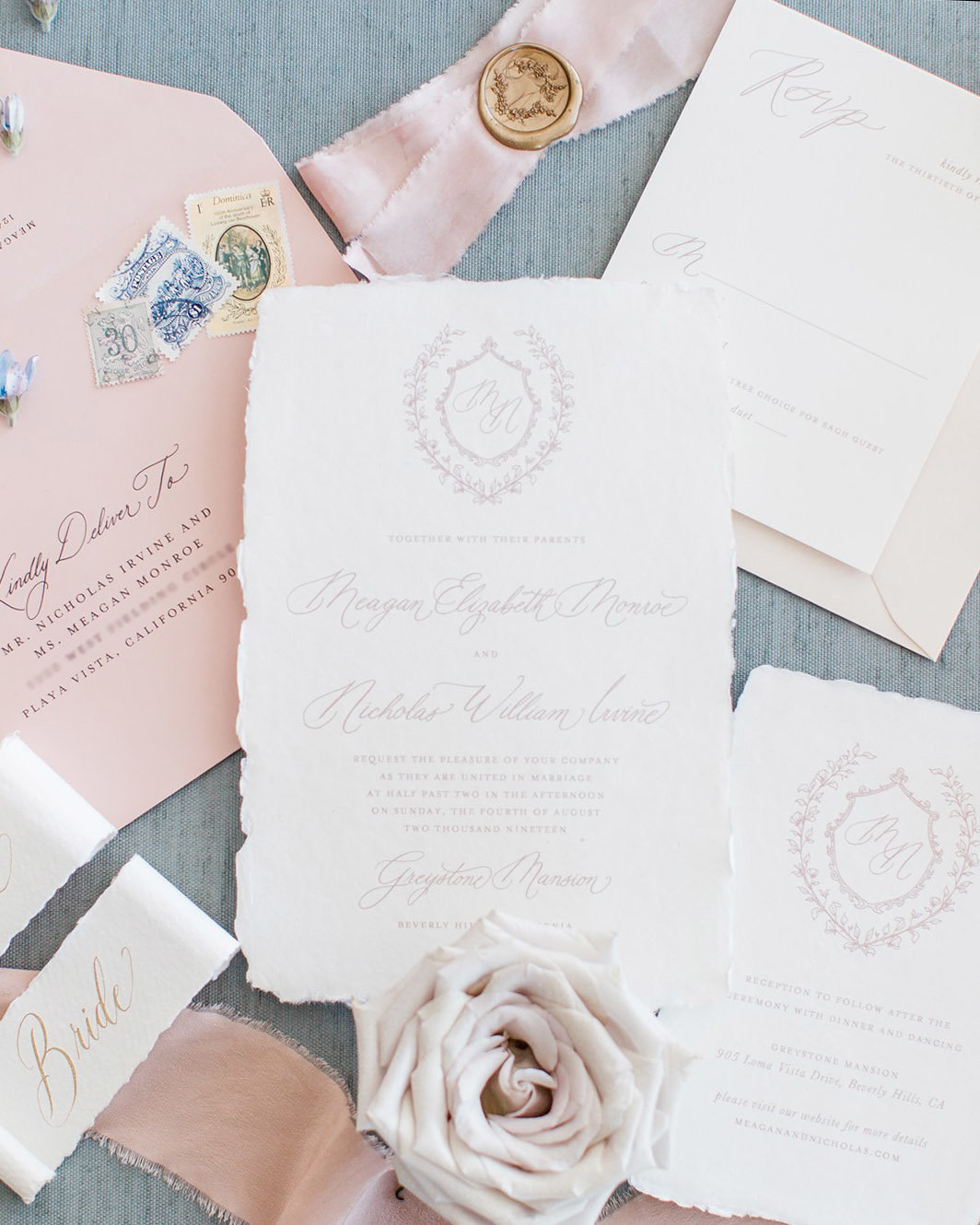 Pemberley suite by Dominique Alba blush on white handmade paper