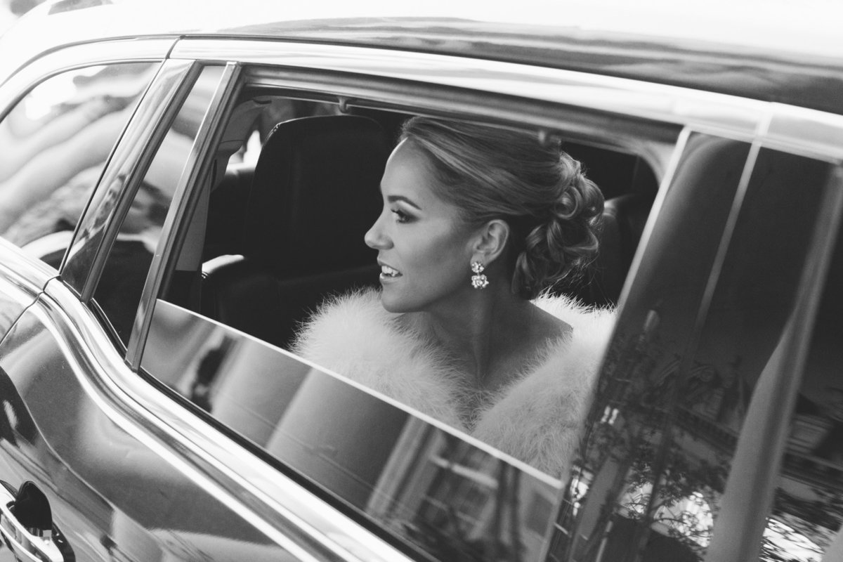 This classic black and white bridal photographed by Rebecca Cerasani  shows a stunning bride as she sets off for her destination wedding at the Biltmore Ballrooms.