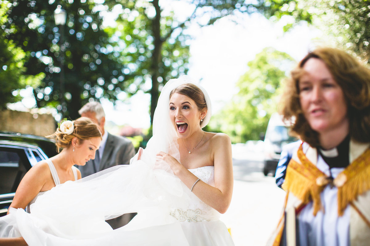 excited bride before wedding ceremony
