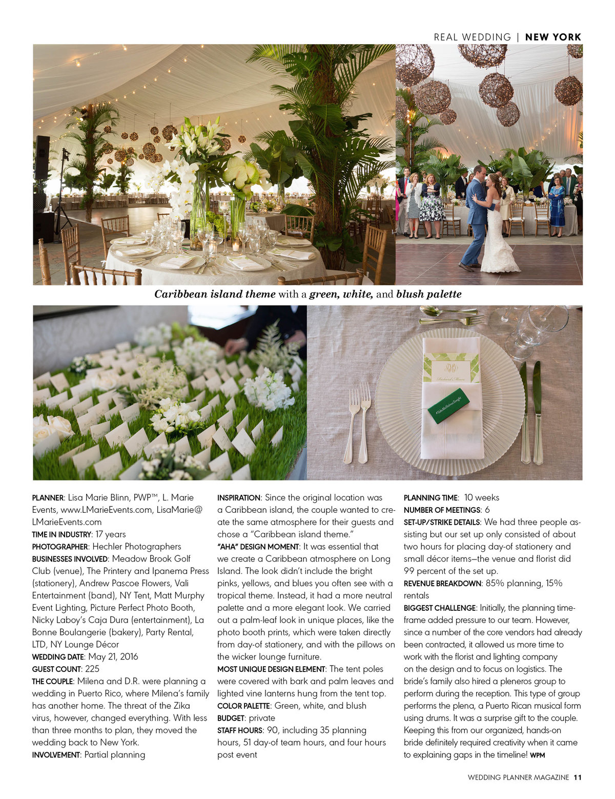 Wedding Planner Magazine May-June 2017 Article
