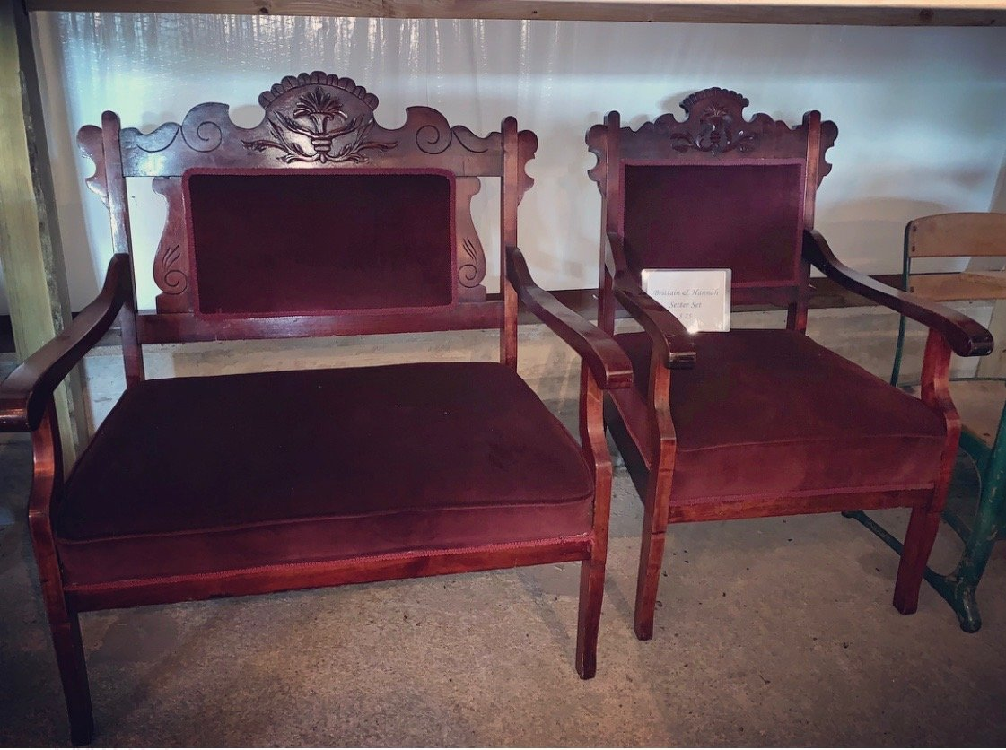 maroon antique settee and chair