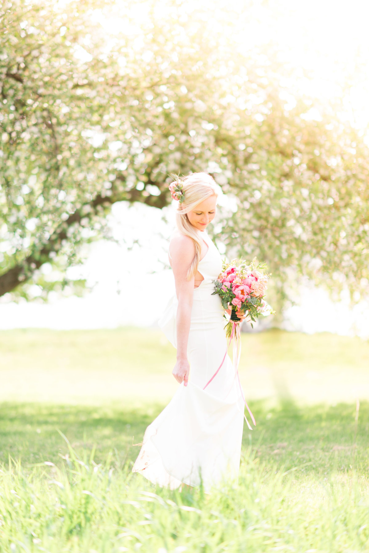 summer cherry blossom wedding photography in northern michigan